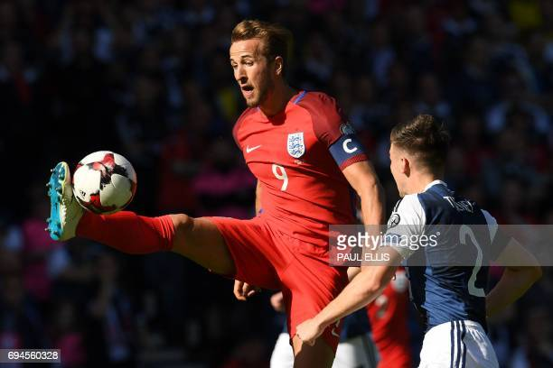 England's striker Harry Kane controls the ball during the group F World Cup qualifying football match between Scotland and England at Hampden Park in...