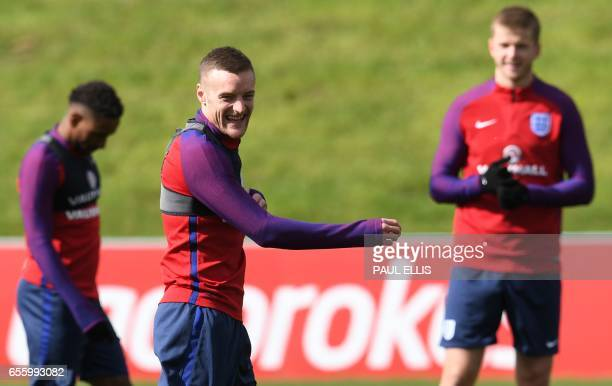 England's striker Jamie Vardy takes part in a team training session at St George's Park in BurtononTrent on March 21 ahead of their friendly...