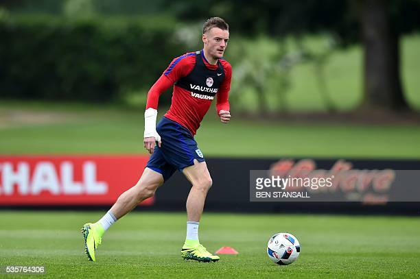 England's striker Jamie Vardy takes part in a team training session in Watford north of London on May 30 2016 England play against Portugal in a...