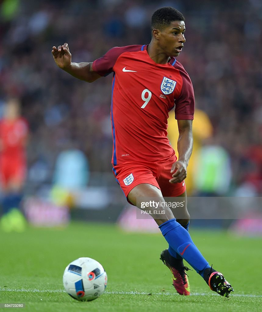 England's striker Marcus Rashford in action during the friendly football match between England and Australia at the Stadium of Light in Sunderland, north east England, on May 27, 2016. / AFP / PAUL