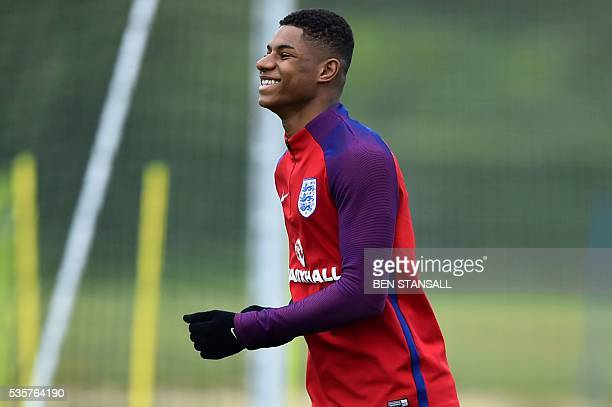 England's striker Marcus Rashford takes part in a team training session in Watford north of London on May 30 2016 England play against Portugal in a...