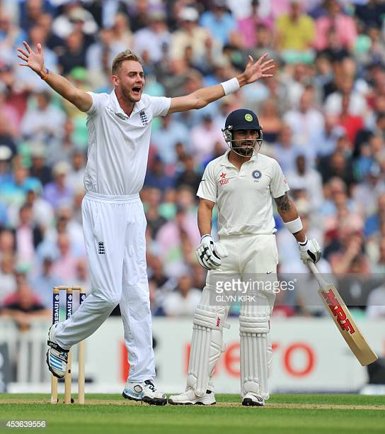 England's Stuart Broad appeals unsuccessfully for the wicket of India's Virat Kohli during the first day of the fifth Test match between England and...