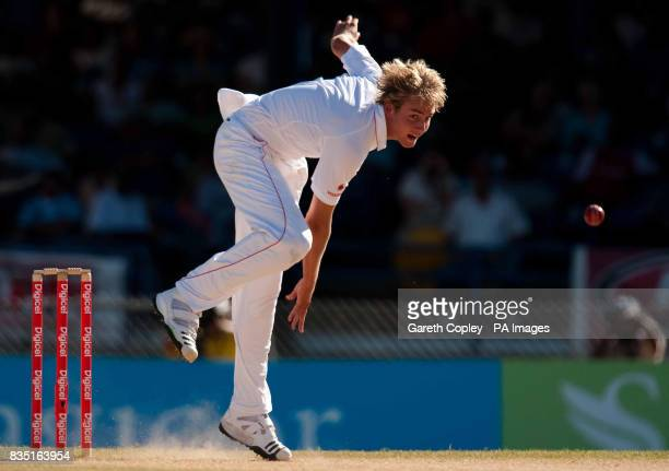 England's Stuart Broad bowls during the fifth test at Queen's Park Oval Port of Spain Trinidad