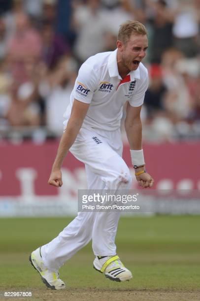England's Stuart Broad celebrates after dismissing Australia's Shane Watson during the 1st Test match between England and Australia at Trent Bridge...