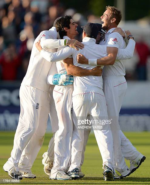 England's Stuart Broad celebrates after taking the last wicket to win the fourth Ashes cricket test match between England and Australia at the Durham...