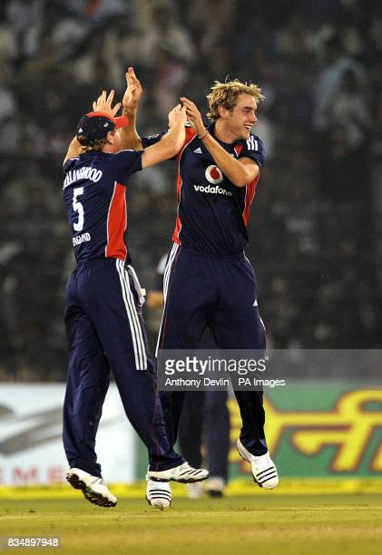England's Stuart Broad celebrates after taking the wicket of Virender Sehwag on 91 during the Fifth One Day International at the Barabati Stadium in...