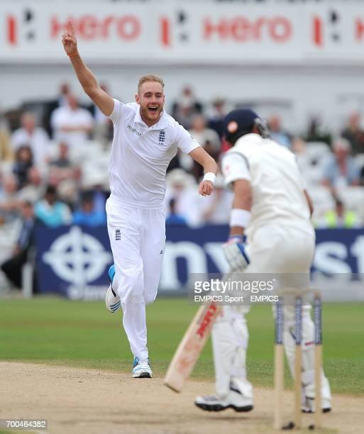 England's Stuart Broad celebrates after trapping India's Virat Kohli LBW