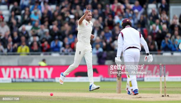 England's Stuart Broad celebrates bowling West Indies Kemar Roach during day three of the First Investec Test match at Edgbaston Birmingham
