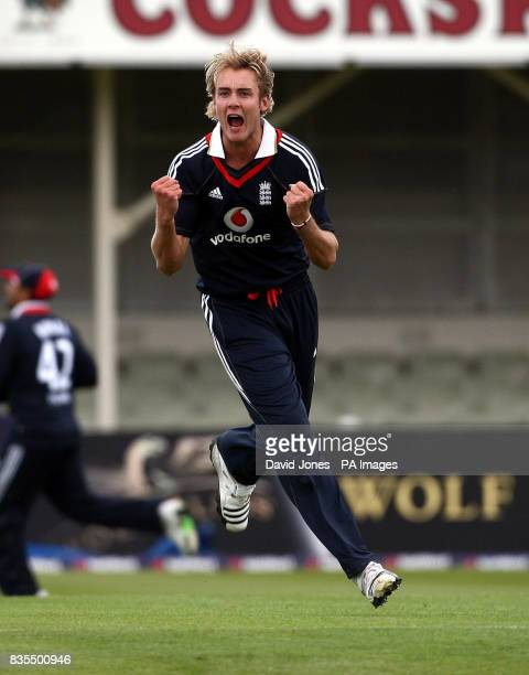 England's Stuart Broad celebrates claiming the wicket of West Indies captain Chris Gayle during the Third One Day International at Edgbaston...