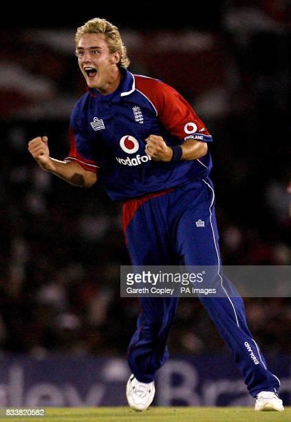 England's Stuart Broad celebrates dismissing Sri Lanka's Kumar Sangakkara for 9 runs during the Second One Day International at Rangiri Dambulla...