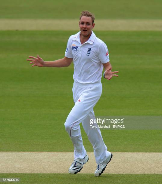 England's Stuart Broad celebrates taking his seventh wicket of the innings the wicket of West Indies' Shannon Gabriel