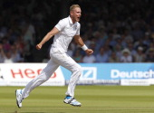 Englands Stuart Broad celebrates taking the wicket of Indias captain and wicketkeeper MS Dhoni for 1 run on the first day of the second cricket Test...