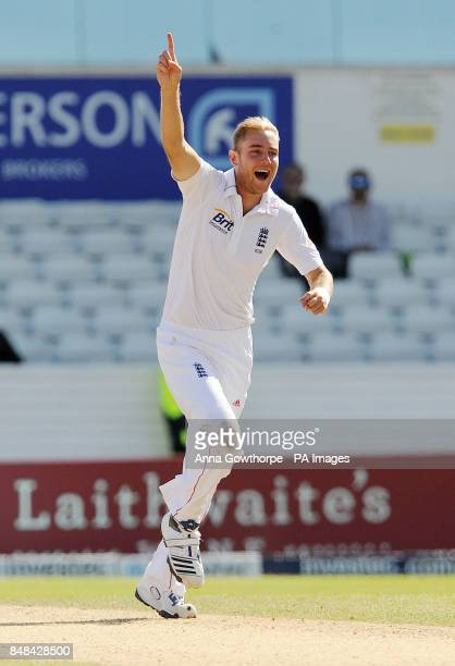 England's Stuart Broad celebrates taking the wicket of South Africa's Vernon Philander during the Investec Second Test match at Headingley Carnegie...