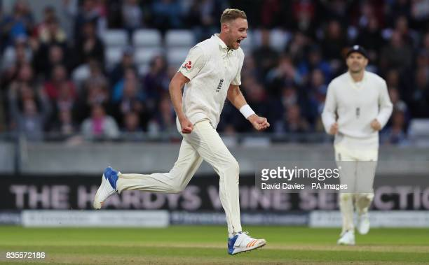 England's Stuart Broad celebrates taking the wicket of West Indies Jason Holder during day three of the First Investec Test match at Edgbaston...