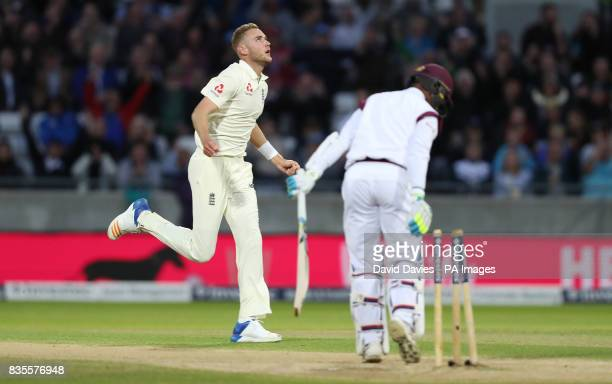 England's Stuart Broad celebrates taking the wicket of West Indies Shane Dowrich during day three of the First Investec Test match at Edgbaston...