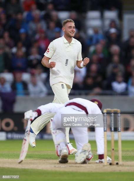 England's Stuart Broad celebrates taking the wicket of West Indies Roston Chase during day three of the First Investec Test match at Edgbaston...