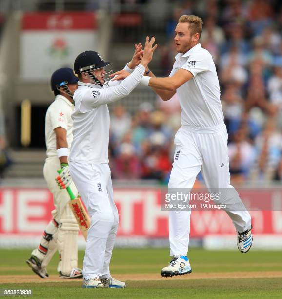 England's Stuart Broad celebrates the wicket of India's Gautam Gambhir during the Fourth Investec Test at Emirates Old Trafford Manchester