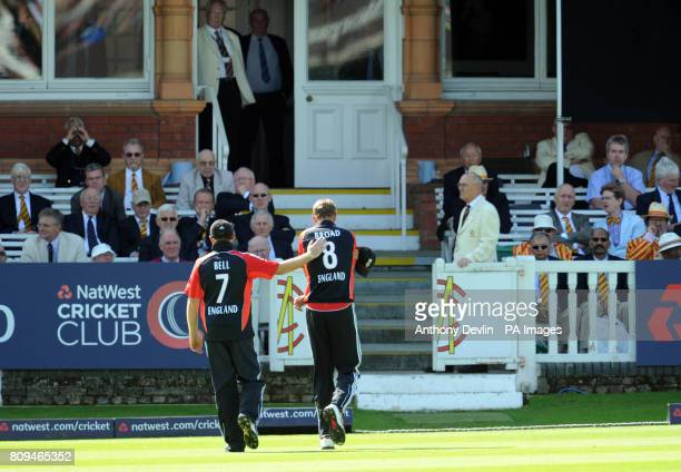 England's Stuart Broad is consoled by Ian Bell as he leaves the field after injuring his right shoulder during the Fourth ODI at Lords Cricket Ground...
