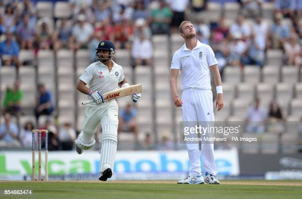 England's Stuart Broad reacts as India's Virat Kohli adds more runs during day three of the Third Investec Test match at the Ageas Bowl Southampton