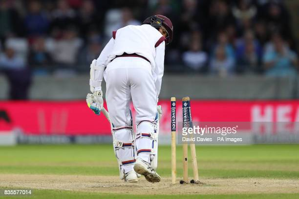 England's Stuart Broad takes the wicket of West Indies Shane Dowrich during day three of the First Investec Test match at Edgbaston Birmingham