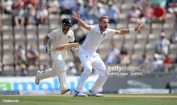 England's Stuart Broad unsuccessfully appeals for the wicket of India's Virat Kohli during day three of the Third Investec Test match at the Ageas...