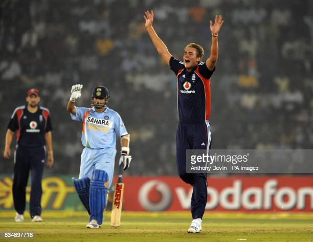 England's Stuart Broad unsuccessfully appeals for the wicket of India's Virender Sehwag during the Fifth One Day International at the Barabati...
