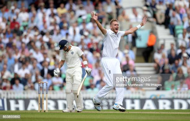 England's Stuart Broad unsuccessfully appeals for the wicket of India's Virat Kohli during the Fifth Test at The Kia Oval London