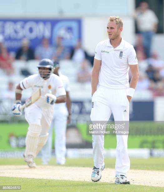 England's Stuart Broad watches as Sri Lanka's Kumar Sangakkara makes runs during day three of the second Investec Test match at Headingley Leeds