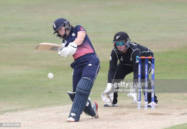 England's Tammy Beaumont hits out during the 2017 ICC Women's World Cup warmup match at the 3aaa County Ground Derby