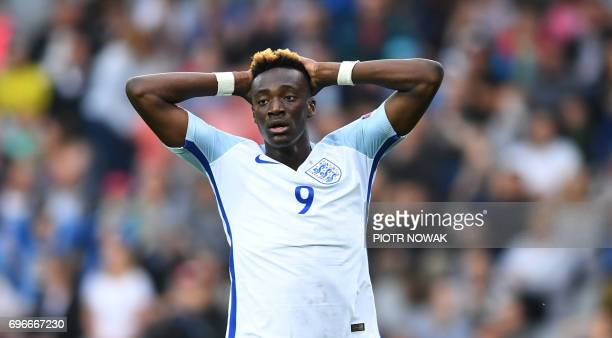 England's Tammy England's forward Tammy Abraham reacts during the UEFA U21 European Championship Group A football match Sweden v England in Kielce...
