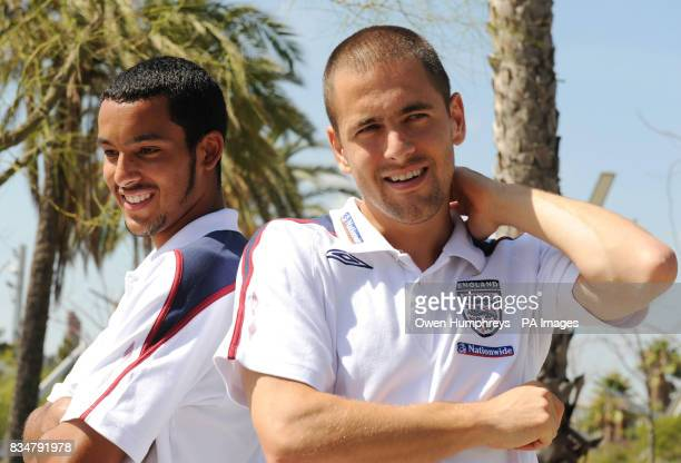 England's Theo Walcott and Joe Cole pose for pictures after a press conference at the Grand Marina Hotel Barcelona Spain
