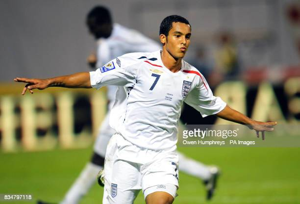 England's Theo Walcott celebrates his hattrick during the World Cup Qualifying Group Six match at the Stadion Maksimirl Zagreb Croatia