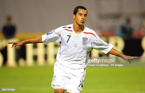 England's Theo Walcott celebrates scoring his hattrick during the World Cup Qualifying Group Six match at the Stadion Maksimirl Zagreb Croatia
