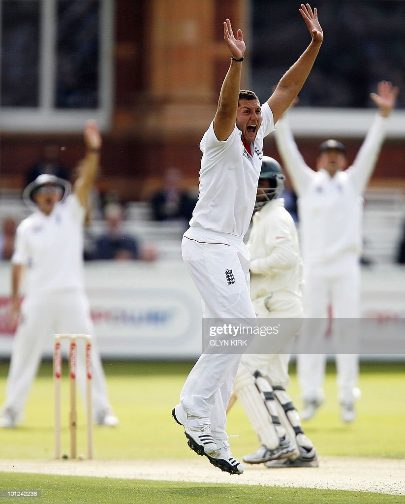 England's Tim Bresnan (C) appeals for the wicket of Bangladesh's Tamim Iqbal on the second day of the first Test match against England at Lord's Cricket Ground in London, on May 28, 2010.
