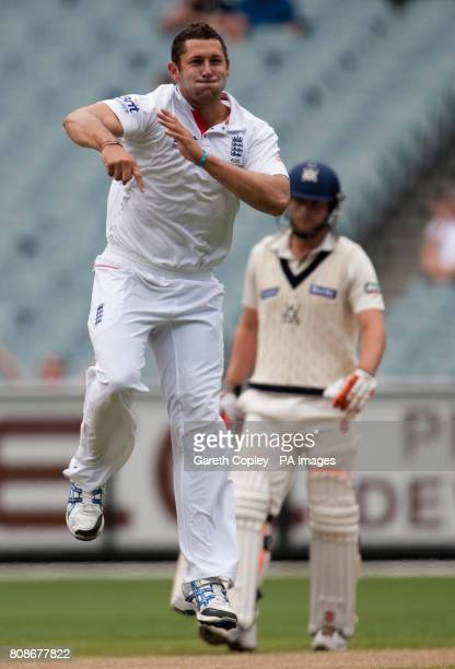 England's Tim Bresnan celebrates dismissing Victoria's Ryan Carters during an International Tour Match at the Melbourne Cricket Ground Melbourne
