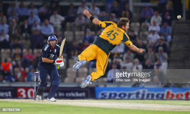 England's Tim Bresnan hits a single off Australia's Ryan Harris during the First Natwest One Day International match at the Rose Bowl Southampton