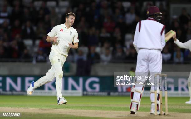 England's Toby Roland Jones celebrates taking the final West Indies wicket during day three of the First Investec Test match at Edgbaston Birmingham