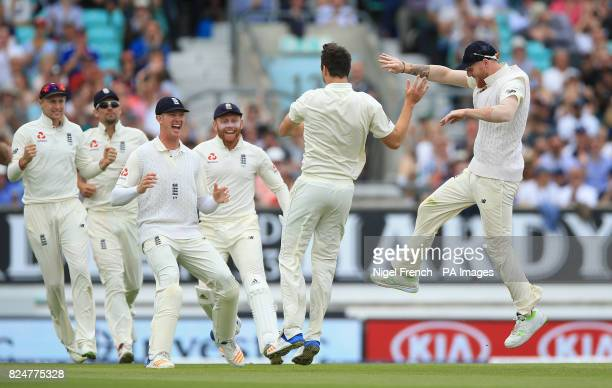 England's Toby RolandJones celebrates after taking the wicket of South Africa's Vernon Philander during day five of the 3rd Investec Test match at...