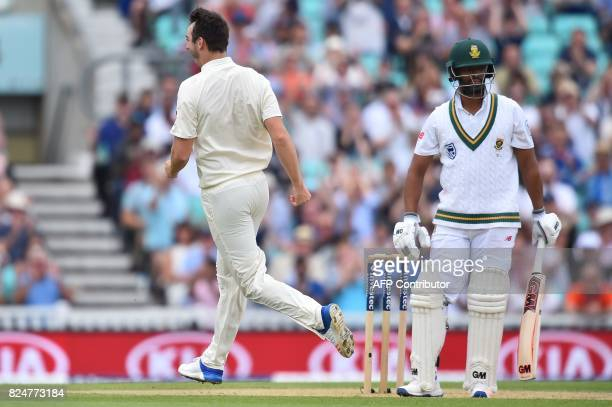 England's Toby RolandJones celebrates taking the wicket of South Africa's Vernon Philander on the final day of the third Test match between England...