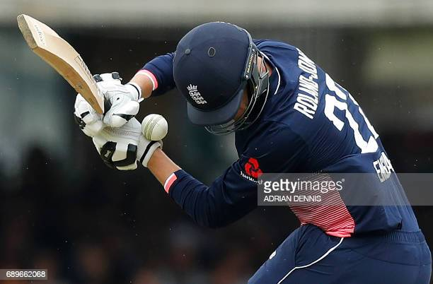 England's Toby RolandJones gets hit by a ball whilst attempting to bat during the third OneDay International cricket match between England and South...