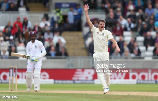 England's Toby RolandJones traps West Indies Shane Dowrich lbw during day three of the First Investec Test match at Edgbaston Birmingham