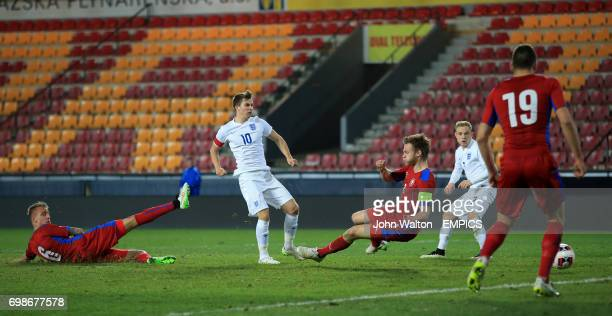 England's Tom Carroll scores his sides first goal of the game
