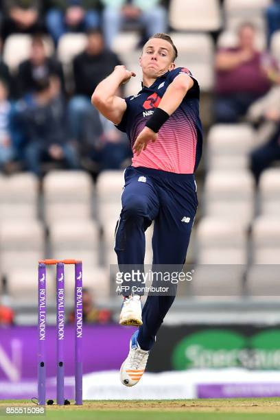 England's Tom Curran bowls during the final OneDay International cricket match between England and the West Indies at the Ageas Bowl in Southampton...