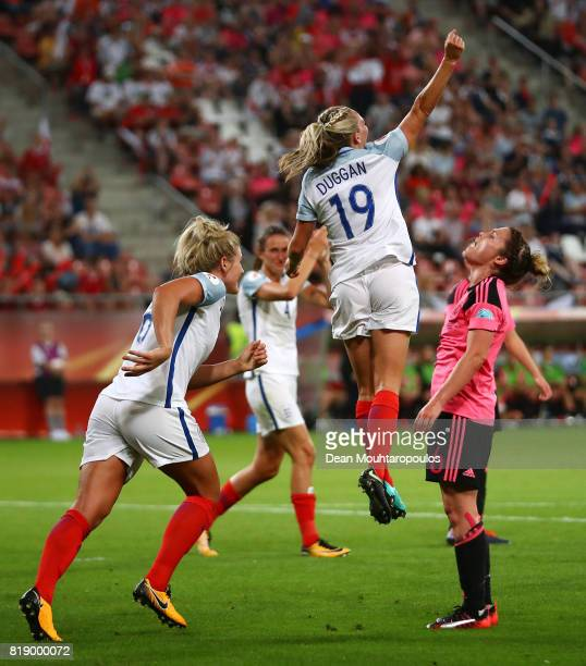 England's Toni Duggan celebrates after scoring the final goal of the game during the UEFA Women's Euro 2017 Group D match between England and...
