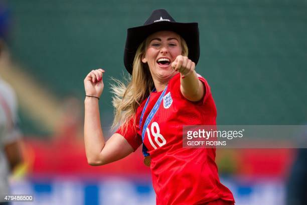 England's Toni Duggan celebrates the Lionesses 10 win over Germany in the bronze medal match against Germany at the 2015 FIFA Women's World Cup in...