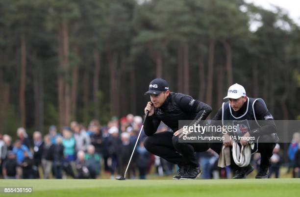 England's Tyrell Hatton on the eighteenth green during day two of the British Masters at Close House Golf Club Newcastle