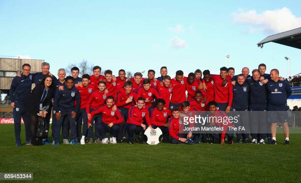 England's Under 20 team pose with the trophy after winning the 4 Nations Tournament after the UEFA U20 International Friendly match between England...