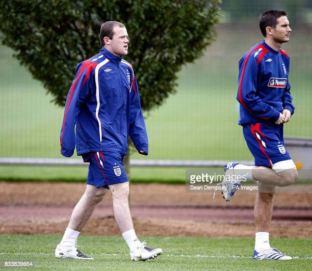 England's Wayne Rooney and Frank Lampard during a training session at London Colney Hertfordshire