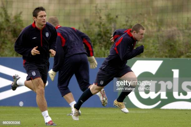 England's Wayne Rooney and Frank Lampard go through their sprints during the training session