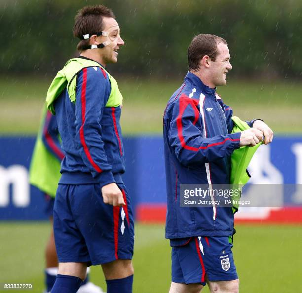 England's Wayne Rooney and John Terry during a training session at London Colney Hertfordshire
